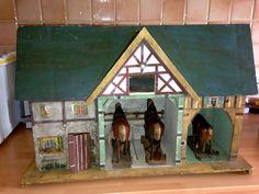 uralter pferdestall um 1910 + 2 pferde,1 ochse aus pappmachee