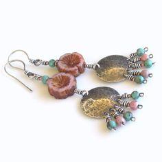 Sterling Silver Earrings Pink Czech Glass Flower by Ctbydonna