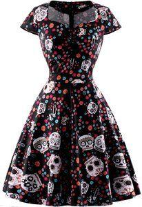 23d9cb4b053b Amazon.com  OTEN Women s Floral Sugar Skull Cap Sleeve Sewing Casual Retro  Party Rockabilly Dress  Clothing