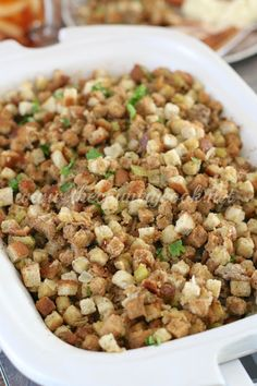 Crock Pot Stuffing The Country Cook - No Thanksgiving or Christmas meal is complete without this Crock Pot Stuffing! The best homemade stuffing with added sausage, celery and onions! Crockpot Stuffing, Sausage Crockpot, Homemade Stuffing, Stuffing Recipes, Sausage Stuffing, Turkey Recipes, Thanksgiving Recipes, Holiday Recipes, Thanksgiving 2020