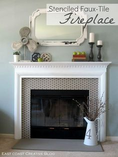 DIY fireplace surround design and pattern - cute bee stencil with honeycomb pattern for chic and modern fireplace design - Royal Design Studio Marble Fireplace Surround, Fake Fireplace, Fireplace Surrounds, Paint Fireplace, Fireplace Design, Fireplace Tiles, Simple Fireplace, Fireplace Update, Craftsman Fireplace Mantels