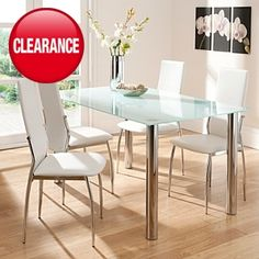 <3 White Glass Big Rectangle Dining Table