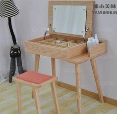 Japanese-style wood dresser modern minimalist green bedroom American red oak vanity mirror vanity cabinet furniture - Taobao