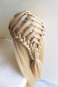 Double sided waterfall into crisscrossed braids