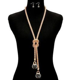 Gold KNOTTED DOUBLE BALL RHINESTONE MESH Statement Necklace