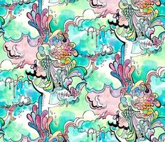 Did you know there are fabric design contests going on all the time at Spoonflower? I didn't either. And these designs are incredible! Love the aqua and pink colors in this.