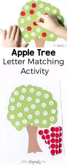 Fine motor craft option This letter matching apple tree alphabet activity is a great way to teach the alphabet this fall! It's perfect for preschoolers and kindergarten students and would be a good addition to your alphabet or literacy center. Teaching The Alphabet, Learning Letters, Kids Learning, Center For Learning, Baby Learning Games, Kid Games, Kindergarten Learning, Learning Numbers, Preschool Kindergarten