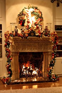 69 best christmas fireplace mantels images on - Decorating Your Mantel For Christmas