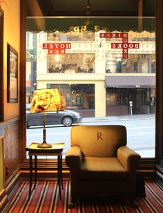 A perfect window seat at Hotel Rex, looking out towards Sutter Street near Union Square.