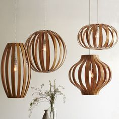 Bentwood Pendants   west elm $169 each- above banquettes? or a cluster over community table??