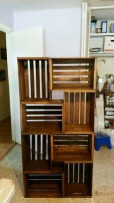 Shelving unit made from recycled crates in Largo, FL (sells for $199)