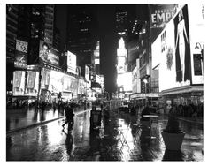 Rainy Evening, Times Square, New York City, Black and White Bright lights, big city ~ rainy night in Times Square. Fine art photography