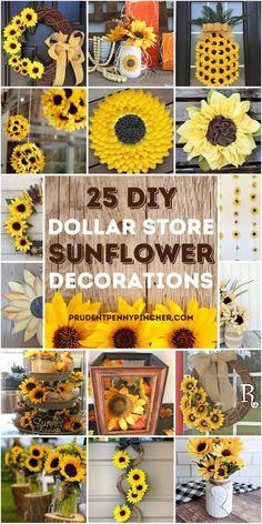 Add some country style to your home on a budget with these sunflower dollar store DIY home decor ideas. From DIY sunflower wreaths to sunflower wall decor, there are plenty of sunflower dollar tree crafts to choose from. These DIY sunflower ideas are perfect for summer or early fall decorations. Rustic Sunflower Centerpieces, Sunflower Wall Decor, Sunflower Crafts, Sunflower Wreaths, Sunflower Decorations, Diy Centerpieces, Sunflower Kitchen Decor, Dollar Tree Decor, Dollar Tree Crafts