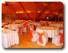 Burnt Orange Sashes on White Spandex Chair Covers - Wedding Chairs ...