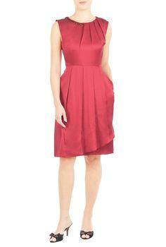 Embellished Faux Wrap Silk Dress