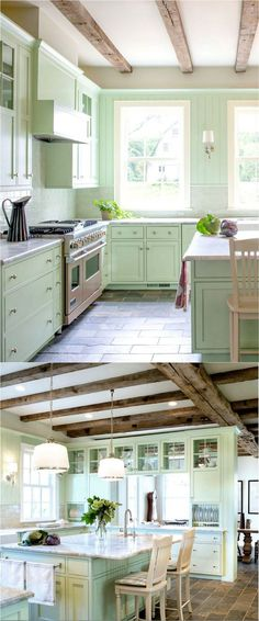Remodeling Kitchen Cabinets - Transform your kitchen easily with 25 beautiful kitchen cabinet colors and favorite designer kitchen paint color combos from farmhouse to modern glam! Kitchen Paint Schemes, Kitchen Paint Colors, Paint Colours, Green Kitchen Cabinets, Farmhouse Kitchen Cabinets, Kitchen Wood, Kitchen Backsplash, Kitchen Cabinetry, Mint Green Kitchen