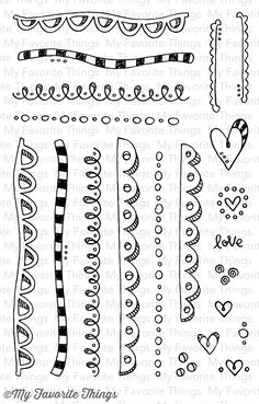 My Favorite Things Stamps - Sunny Day Doodles Borders & Accents mmch Tangle Doodle, Doodles Zentangles, Zen Doodle, Doodle Art, Doodle Borders, Doodle Patterns, Zentangle Patterns, Drawing Borders, Pattern Drawing