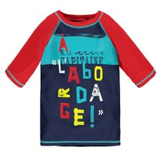 "Captain Thematic ""Rashguard Type"" T-Shirt Navy / T-shirt à thématique capitaine de type « rashguard » Souris Mini"