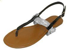 Womens T Strap Roman Gladiator Sandals Flats W/Bow 6 Colors (6373 7/8, Black/Silver). Check website for more description.