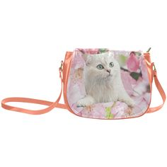Cat and Flowers Classic Saddle Bag/Large (Model 1648)