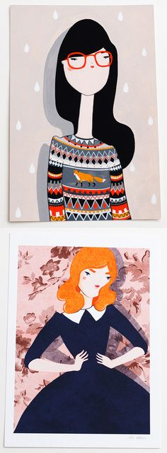 Prints by Kris Atomic. I really love the one with the fair isle sweater.