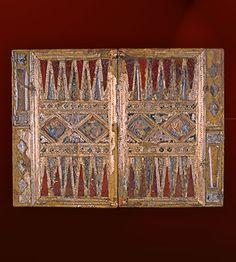 Aschaffenburg Board Game, c. 1300,  wood, silver, jasper, rock crystal, painted clay.  -- The Stiftsmuseum Aschaffenburg