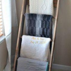 DIY Blanket Ladder - until we find the perfect blanket basket