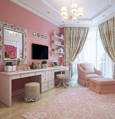 Not in pink but love the makeup and desk combo with different chairs
