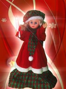 """Pretty Animated Lighted Motion 25"""" Girl Christmas Figure In Red & Plaid Blonde  Buy Now$130.00"""