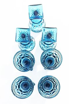 Vintage Blue Colony Park Lane Cordials Goblets  Set of 7, Blue goblets Size 4 1/2 inches tall In excellent condition