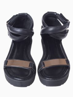 Black Metallic Footbed Flat Sandals with Cross Ankle Strap | Choies
