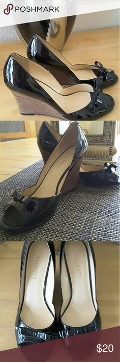 """Black Patent Leather Wedges▪Wide Width Perfect for spring, like new patent wedges with cute bow detail. 3.5"""" covered wedge heel. Talbots Shoes Wedges"""