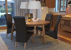 Vida Living Brondby Dining Table - Round Dimensions : Dia x H Material : Oak and Oak Veneer Assembly : Flat Packed Shape : Round Features : Fixed Top Oak Dining Sets, Round Dining Set, Oak Dining Chairs, Conference Room, Furniture, Leather, Home Decor, Decoration Home, Room Decor