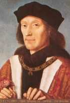 King Henry VII (1485-1509). House of Tudor. 13th great-grandfather of Queen Elizabeth II. Reign: 23 yrs, 7 mos, 28 days. Successor: Son, Henry VIII. Historical events during reign: Christopher Columbus crosses the Atlantic; John Cabot discovers Newfoundland, Canada which he thought was Asia and claimed it for England. Henry VII's daughter married James IV of Scotland giving James' descendants (including Mary, Queen of Scots) a claim to the English throne. Henry VII died at age 52.