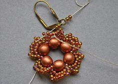 "Beaded Treasury: Free Tutorial: ""Flower Tale"" earrings12 bronze opaque 6mm Czech glass pearl round beads 2 gr. gold lustered dark topaz Japanese 11/0 seed beads (Toho 459)"