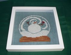 BENT CREEK SNOW GLOBE SNOWMAN COMPLETED  CROSS STITCH PICTURE FRAMED