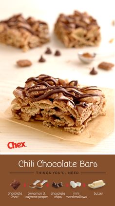 Warm up with the sweet heat of these Chili Chocolate Bars, no oven required! Chocolate Chex and gooey mini marshmallows mixed with a hint of cinnamon and pepper make this snack a Fall favorite.