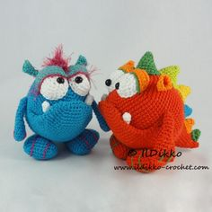 Vote for Monty and Myrtle the Monsters by IlDikko - www.amigurumipatt... - There once was a monster named Myrtle, who lived in the mud on a dirt hill. She created a mess, we have to confess, her cleaning attempts were infertile. There once was a monster named Monty. His life was so far really jaunty. Until one day, we don't dare to say, he learned Myrtle was truly his auntie.