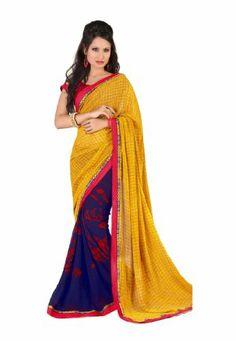 Branded Indian Women Sari Printed Orange & Blue - http://www.desitoga.com/sari/branded-indian-women-sari-printed-orange-blue/