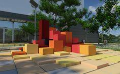 pixel landscape design by Dusan Najdanovic, via Behance Landscape And Urbanism, Garden Landscape Design, Urban Landscape, Plaza Design, Kindergarten Design, Public Space Design, Playground Design, Design Research, Urban Furniture