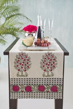 THE WORLD OF FERGANA The Samarqand design collection celebrates the blooming orchards, ancient crafts and picturesque Fergana Valley. On textured pique cotton, the highlight of this runner is the incredible hand block pomegranate trees in full bloom printed across the length, accented by an elegant pomegranate border on jade green. Shop the Fergana runner on our #WebBoutique #Fergana #InBloom #Samarqand #EntertainInStyle