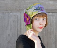 Unique felted cloche hat retro style hat green and by filcAlki