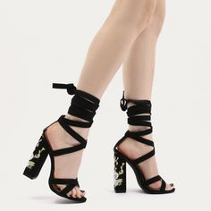 Lay on the romance in these lace up beauts. Featuring squared heel with floral embroidered detailing, cross over strap on the front and lace up design around the ankle. Style with the trend of the moment gingham and sass the night away.   Heel Height: 5\