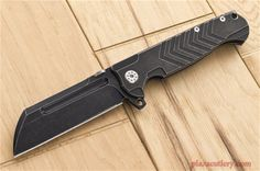 ADV Tactical Mega Butcher Flipper with a Black Stone Washed Blade and Handle.