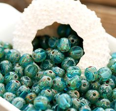 Picasso Czech Glass beads  Aqua blue spacers round by MayaHoney, $2,25