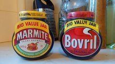 Big value Marmite jar and big value bovril Big Jar, Marmite, Jars, Vitamins, Vegetarian, Beef, Canning, The Originals, Vegetables
