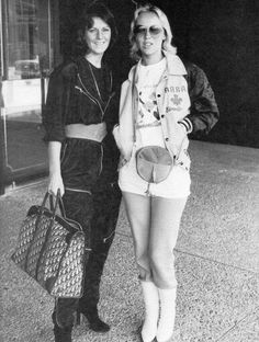 Frida and Agnetha in Edmonton (Canada) where the ABBA tour was about to kick off, September 1979.