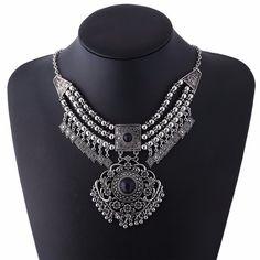 Women's Vintage Bohemian Style Tassel Bib Statement Choker Necklace Maxi Necklace Ethnic Jewelry