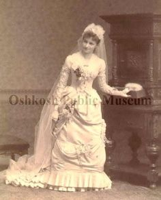 Full standing view of Emma Bailey Ransdall wearing a white wedding dress and veil. Vintage Wedding Photos, Wedding Pictures, Vintage Weddings, Wedding Wear, Wedding Attire, Wedding Gowns, Belle Epoch, White Wedding Dresses, Here Comes The Bride