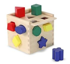 Melissa & Doug Shape Sorting Cube by Melissa and Doug. $11.99. From the Manufacturer                The ultimate shape sorter!  Features 12 chunky, vibrantly colored shapes that make a satisfying 'clink' as they drop into the natural finished hardwood cube!  Then open the lid, take them out, and start all over again!                                    Product Description                Melissa & Doug Shape Sorting Cube. Save 20%!